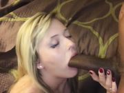 Slut blonde wife sucking thick black cock in front of husband